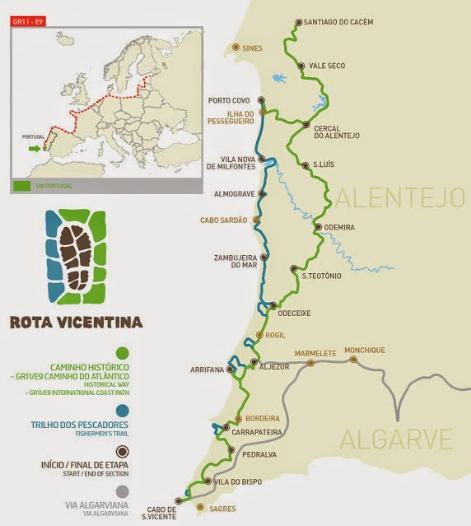 Karte Rota Vicentina (www.rotavicentina.com)
